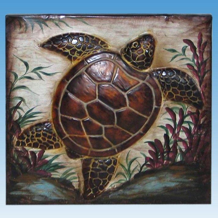 Buy Metal Turtle Beach Wall Art 16 Inch - Nautical Decorating Ideas -