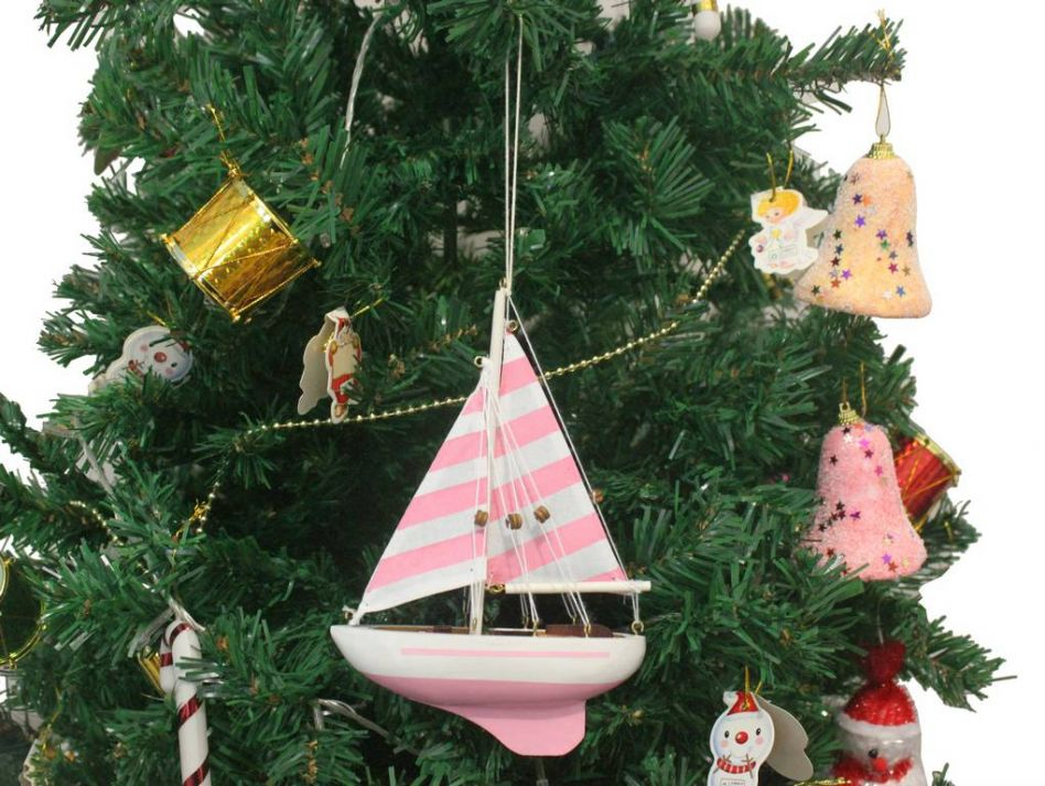 Buy Wooden Pretty In Pink Model Sailboat Christmas Tree