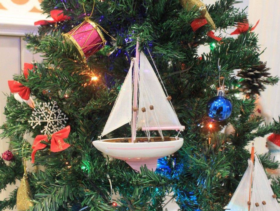 Bulk Christmas Ornament: Wholesale Pink Sailboat Christmas Tree Ornament 9in
