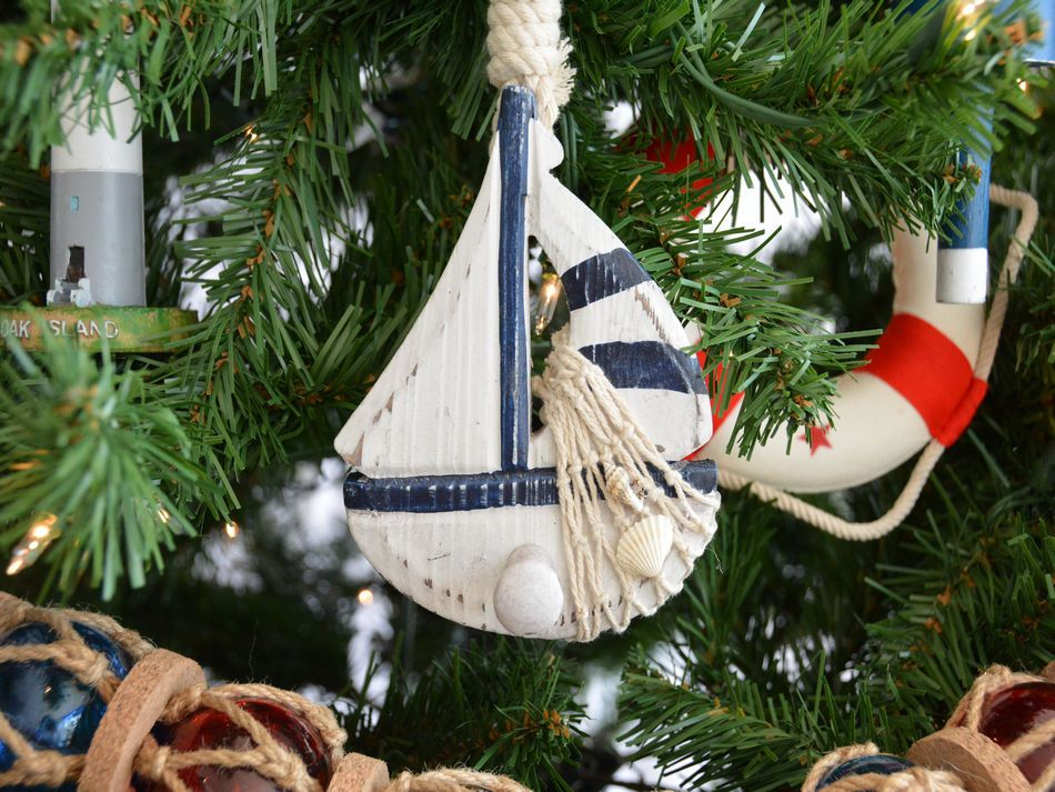 wooden rustic blue sailboat model christmas tree ornament - Nautical Christmas Decorations