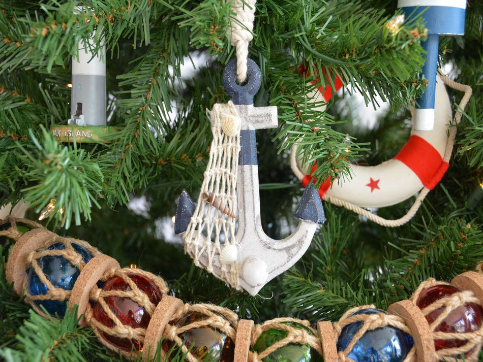 Bulk Christmas Ornament: Wholesale Rustic Blue Decorative Anchor Christmas Tree