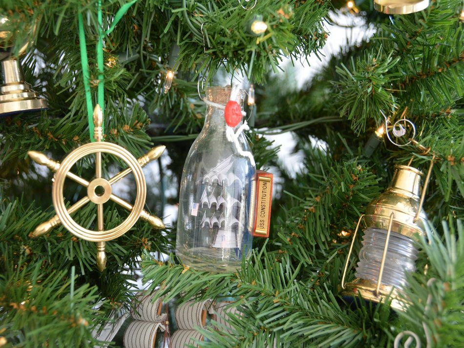 uss constitution model ship in a glass bottle christmas tree ornament - Nautical Christmas Decorations