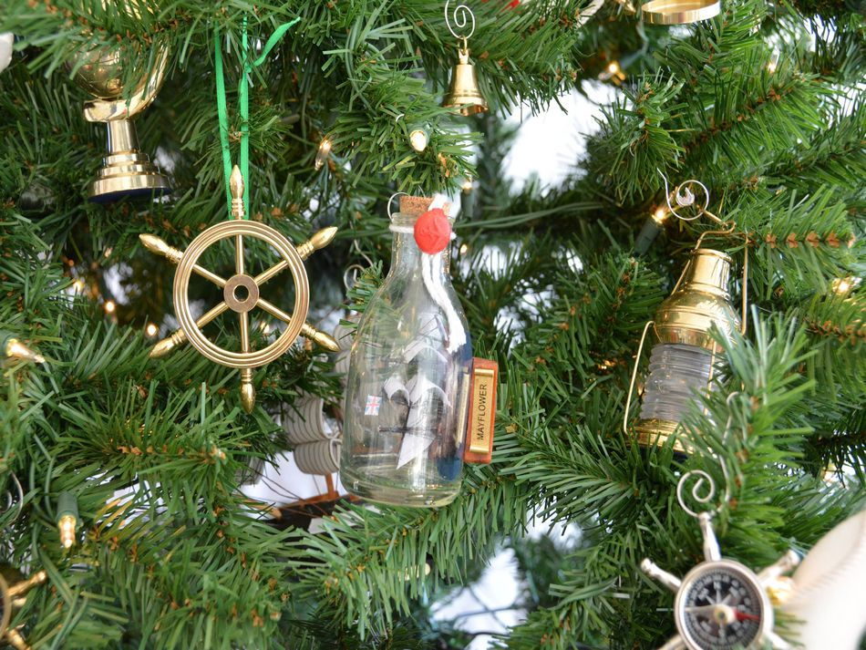 mayflower ship in a glass bottle christmas tree ornament - Nautical Christmas Decorations