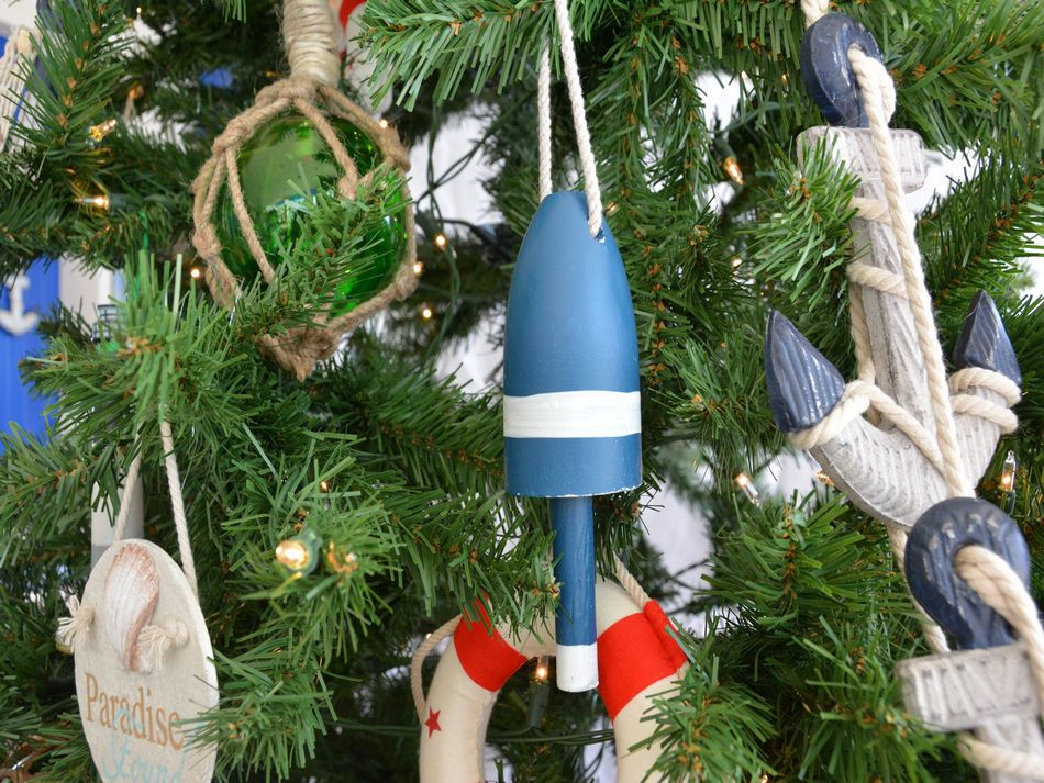 Buy Wooden Blue Lobster Trap Buoy Christmas Tree Ornament - Ship Models