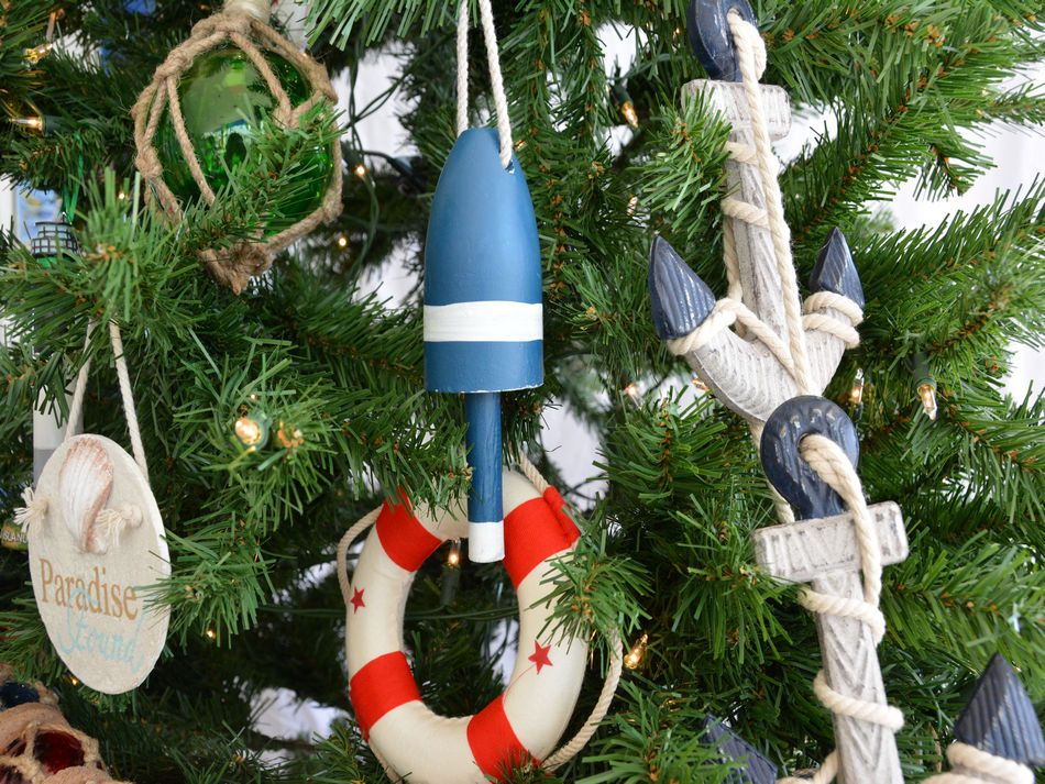 Buy Wooden Blue Lobster Trap Buoy Christmas Tree Ornament - Wholesale Be