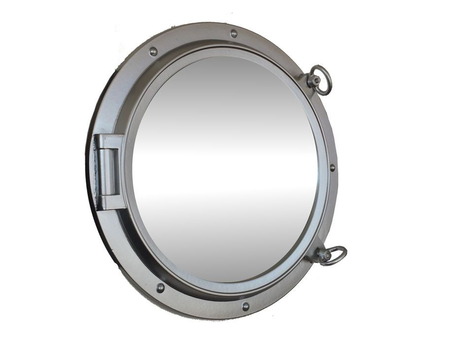 Buy silver finish decorative ship porthole mirror 24 inch for Cheap silver mirrors