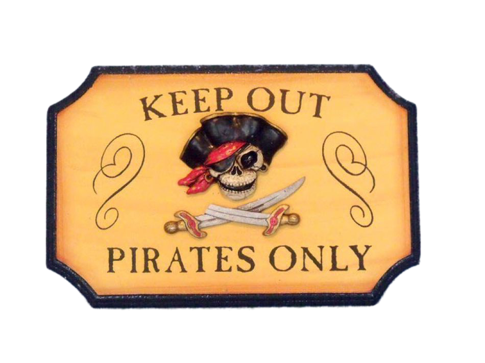 Buy Wooden Pirates Only Sign 9 Inch Nautical Decor