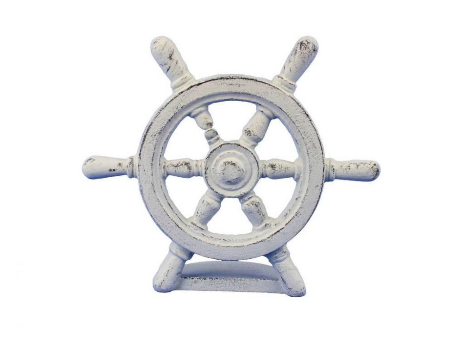 Buy Whitewashed Cast Iron Ship Wheel Door Stopper 9 Inch