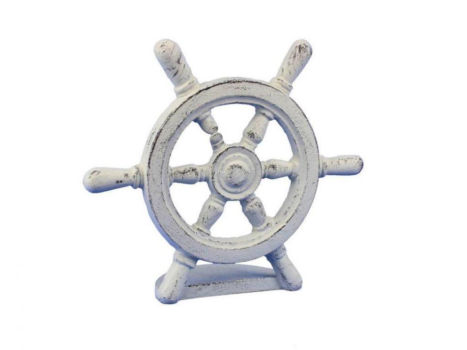 Buy whitewashed cast iron ship wheel door stopper 9 inch Decorative door stoppers