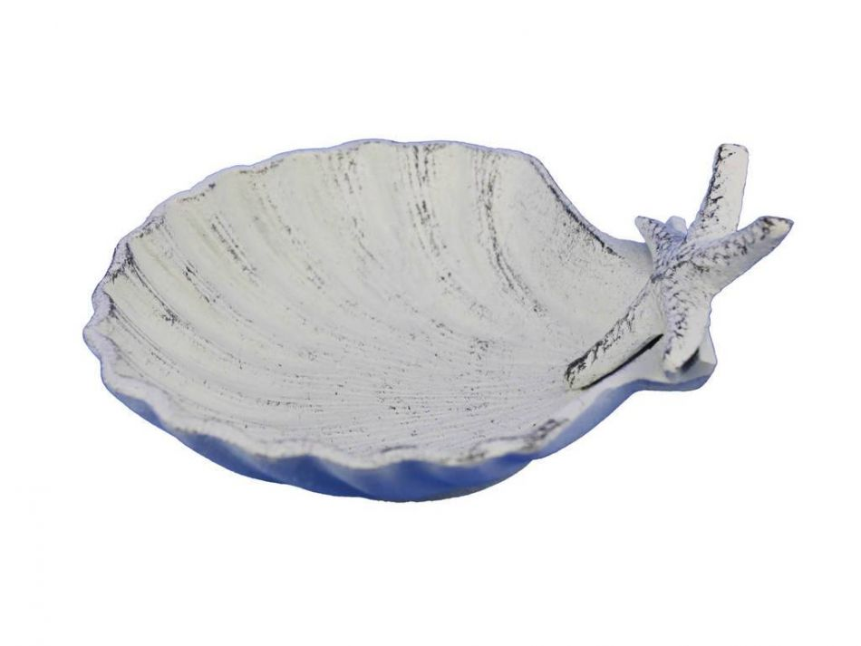 Buy whitewashed cast iron shell with starfish decorative for Beachy decor items