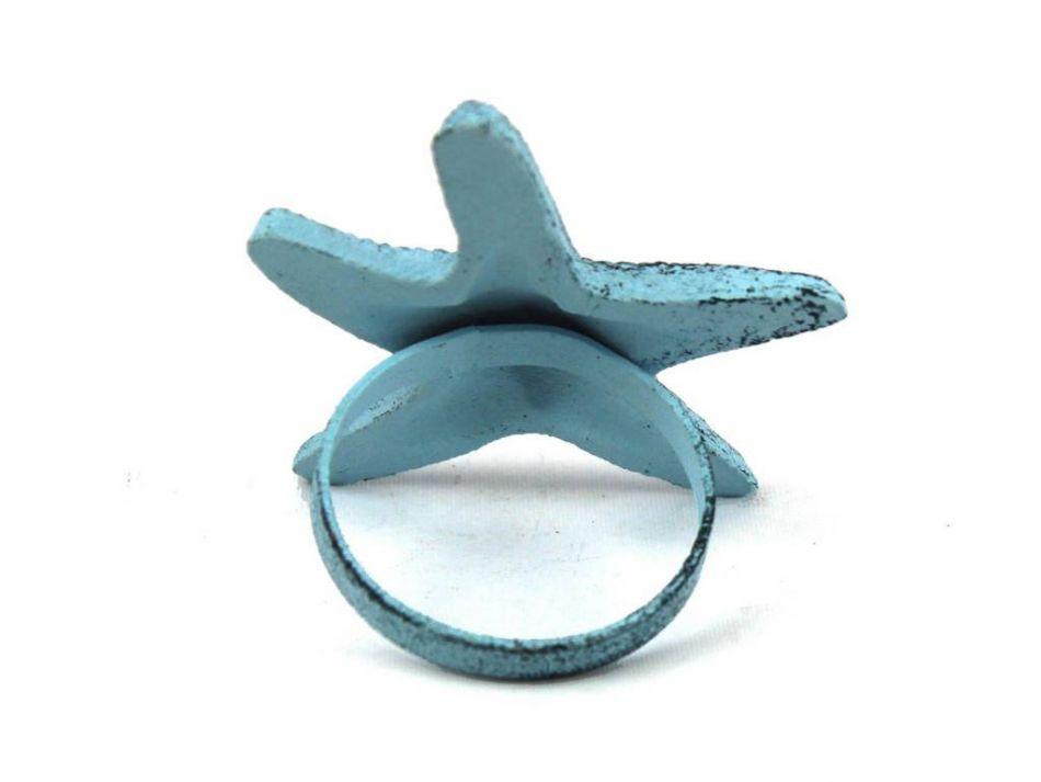 Buy dark blue whitewashed cast iron starfish napkin ring 3 - Coastal napkin holder ...