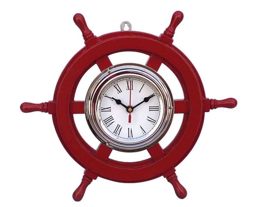 Buy Deluxe Class Red Wood And Chrome Pirate Ship Wheel Clock 12 Inch N