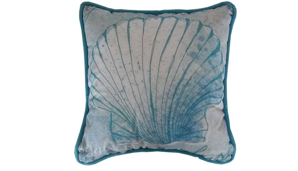 Light Blue Patterned Throw Pillow : Buy Light Blue and White Seashell Decorative Throw Pillow 10 Inch