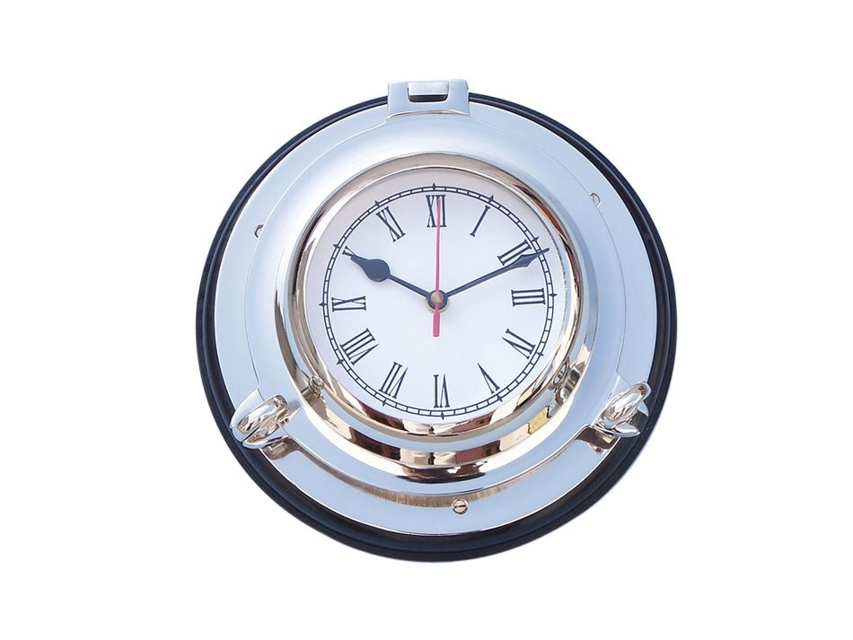 Buy chrome porthole clock with rosewood base 10 inch for Seashell wall clock