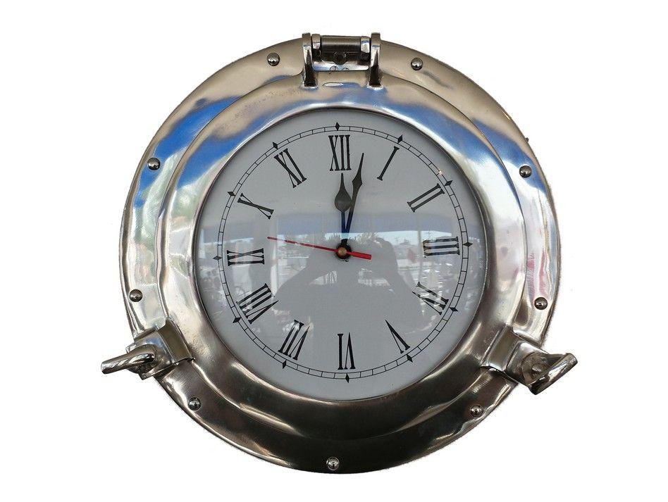 Buy chrome decorative ship porthole clock 12 inch for Seashell wall clock