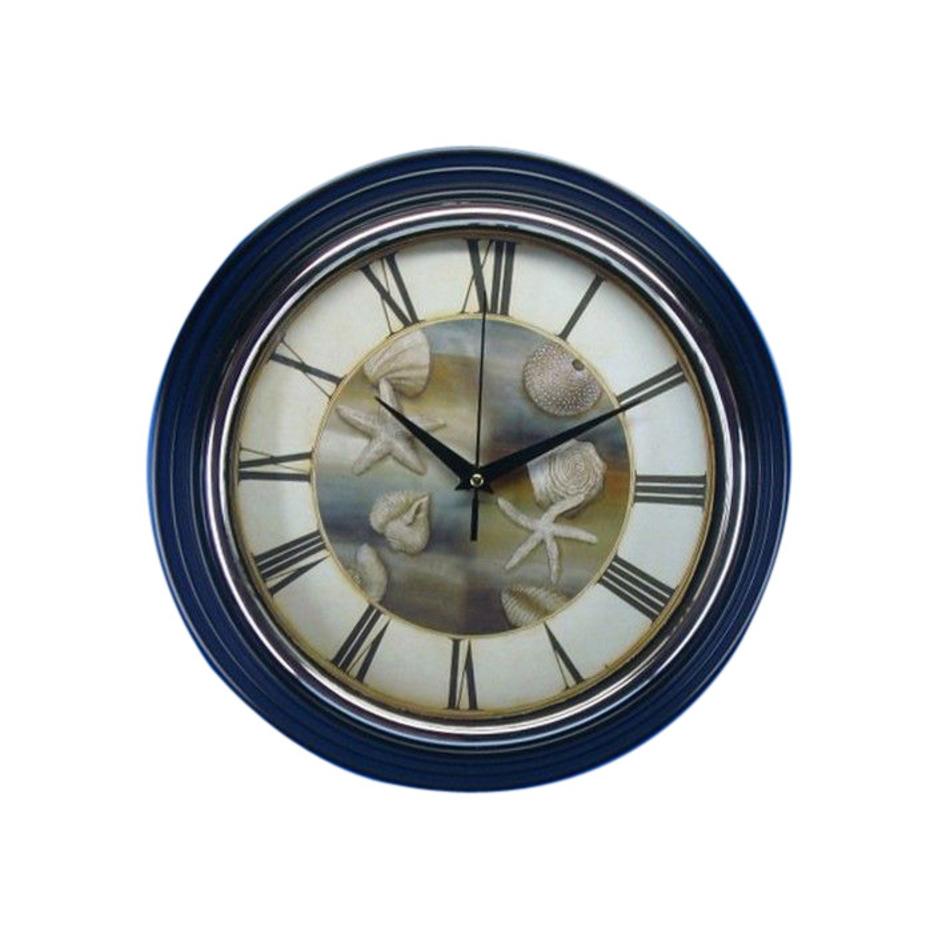 buy seashell wall clock 12 inch wholesale beach decor. Black Bedroom Furniture Sets. Home Design Ideas