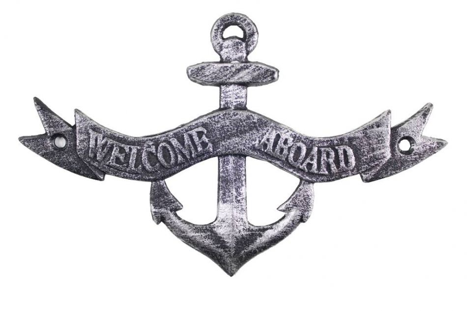 Wholesale Antique Silver Cast Iron Welcome Aboard Sign 8in