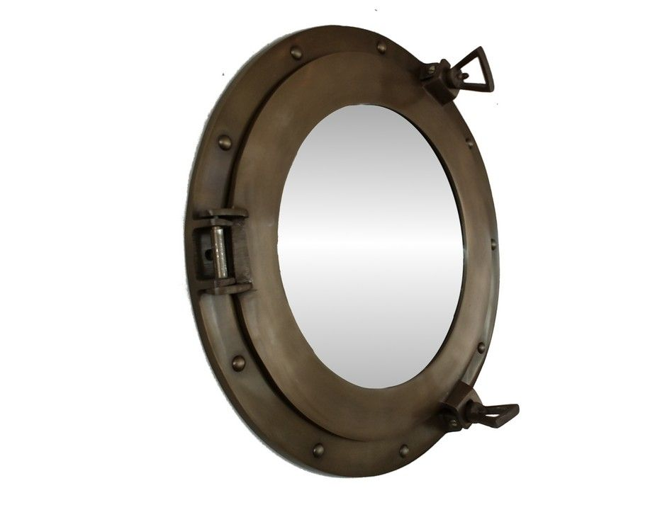 Buy Antiqued Brass Porthole Mirror 15 Inch Nautical Home