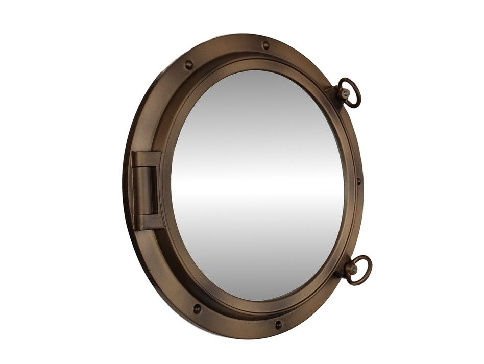 Buy bronzed decorative ship porthole mirror 24 inch for Decoration hole