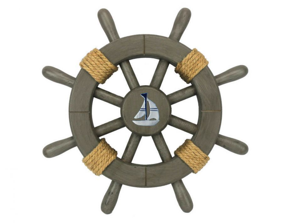 Buy antique decorative ship wheel with sailboat 12 inch for Buy reclaimed wood los angeles