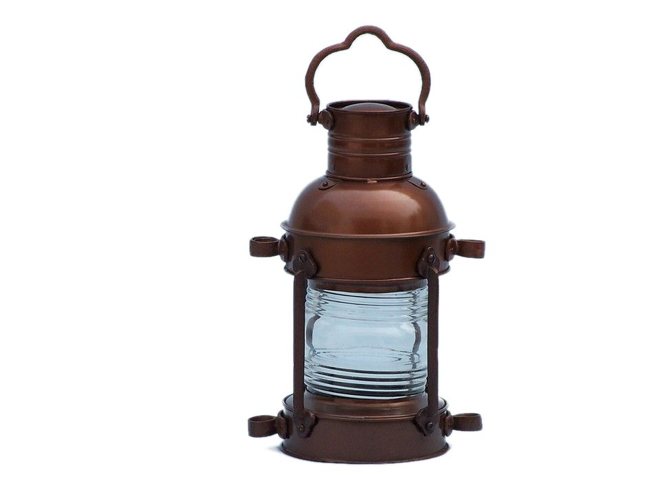 "Antique Copper Anchor Oil Lantern 14"" - Rustic Oil Lantern ..."