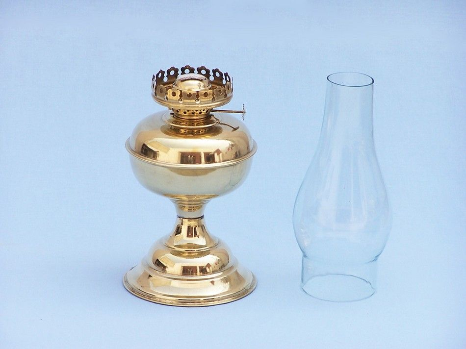 buy solid brass table oil lamp 17 inch nautical home decor. Black Bedroom Furniture Sets. Home Design Ideas