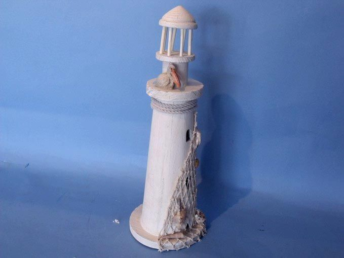 Buy Wooden Pelican And Net Small Lighthouse 15 Inch