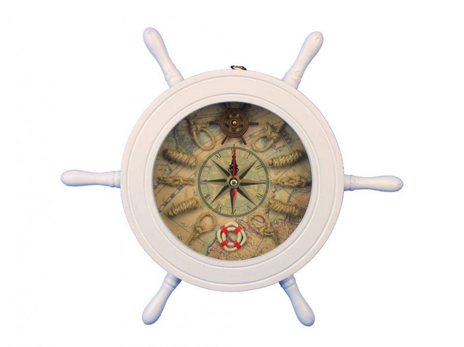 Buy Wooden White Ship Wheel Knot Faced Clock 12 Inch Nautical Gifts