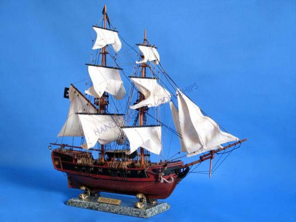 Buy Wooden Caribbean Pirate Ship Model 26in White Sails
