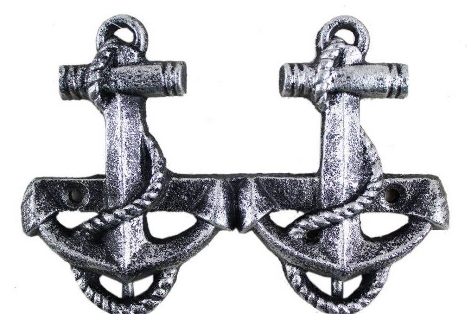 Buy Antique Silver Cast Iron Decorative Anchor Hooks 7