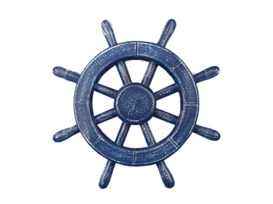 Rustic All Dark Blue Decorative Ship Wheel 12