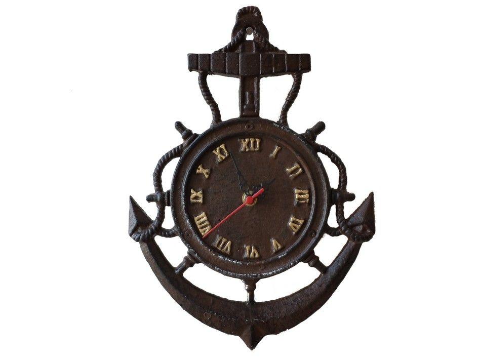 Buy Rustic Cast Iron Vintage Anchor Clock 12in