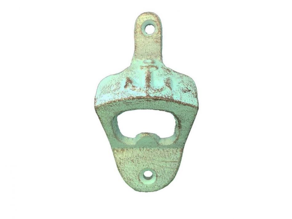Rustic light blue cast iron wall mounted anchor bottle opener 3 - Cast iron wall mount bottle opener ...
