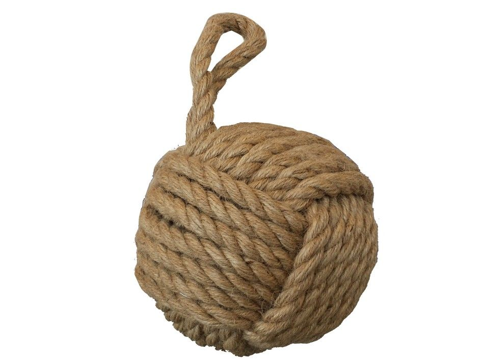 Buy brown sailor 39 s knot door stop 12 inch nautical decorations - Knot door stopper ...