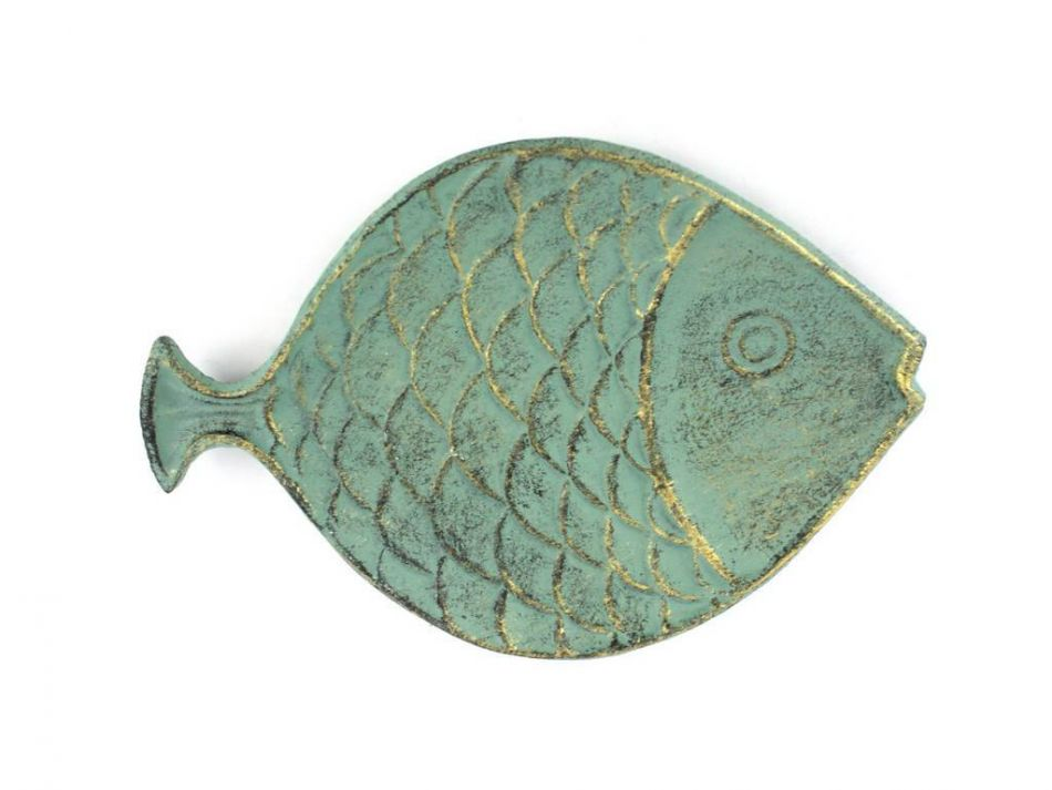Buy antique bronze cast iron fish decorative plate 8 inch for Cast iron fish
