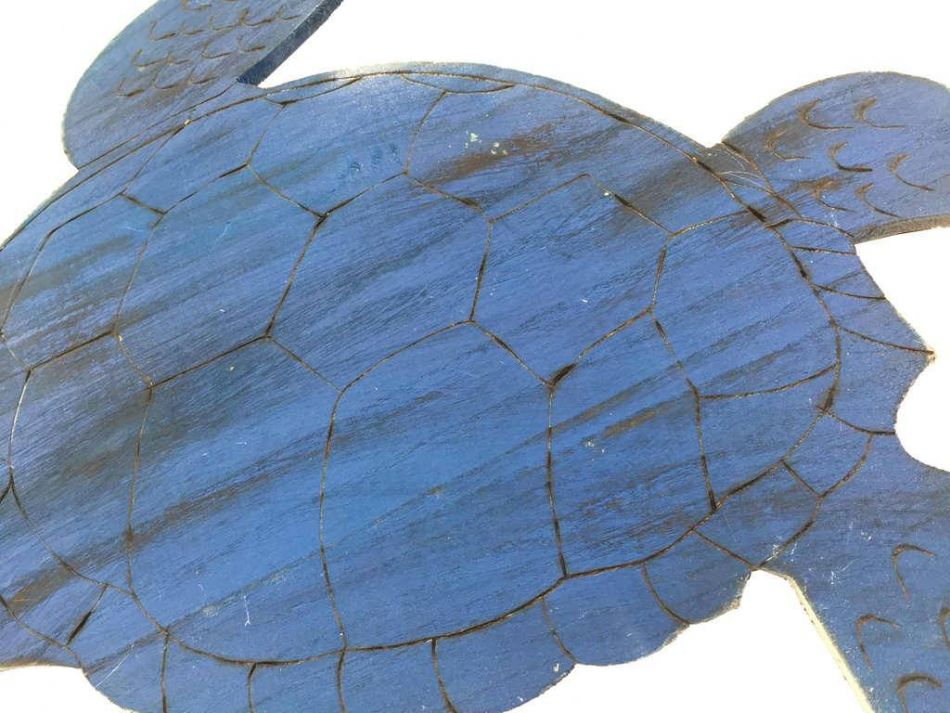 """Wooden Rustic Dark Blue Sea Turtle Wall Mounted Decoration 25"""""""