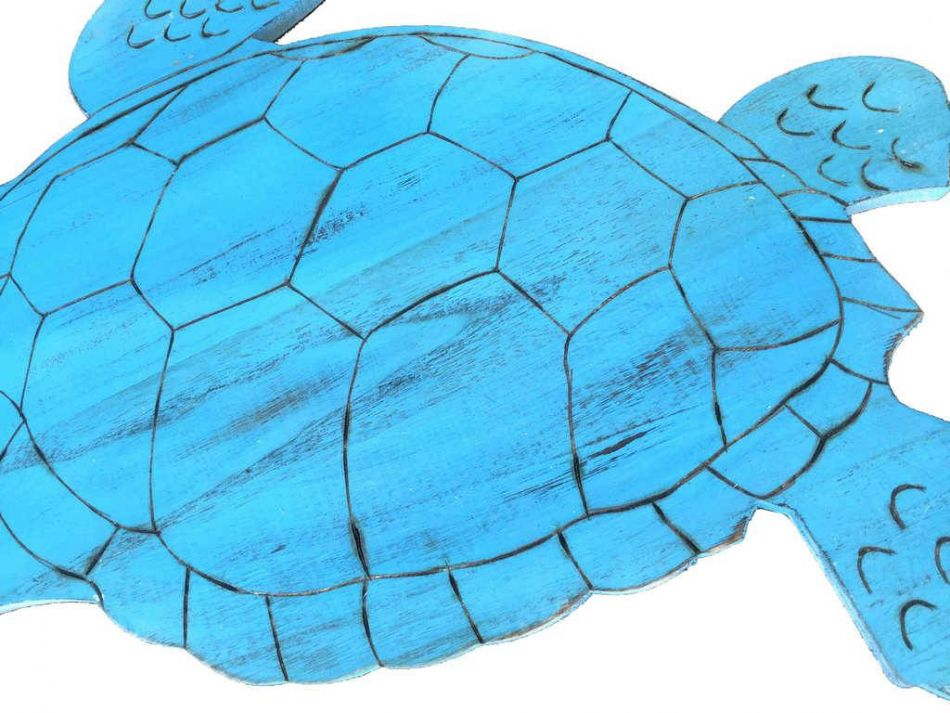 Wooden Rustic Light Blue Sea Turtle Wall Mounted