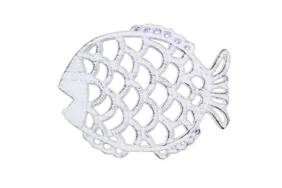 Buy rustic whitewashed cast iron big fish trivet 8 inch for Big fish cast