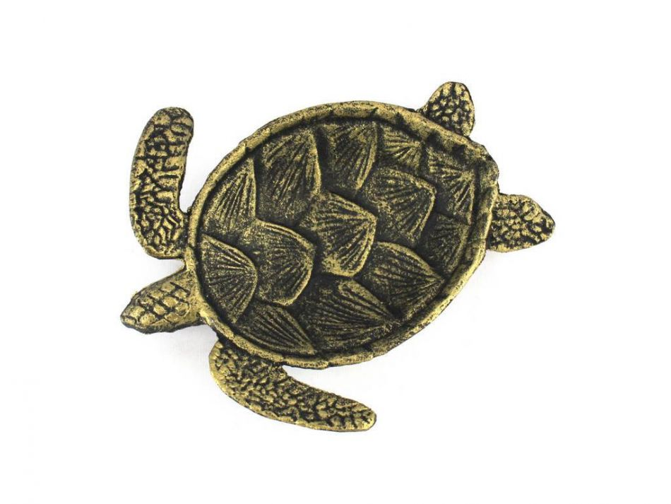 Buy Antique Gold Cast Iron Sea Turtle Decorative Bowl 7