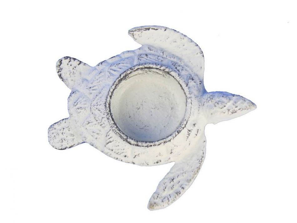 Buy whitewashed cast iron turtle decorative tealight Turtle decorations for home