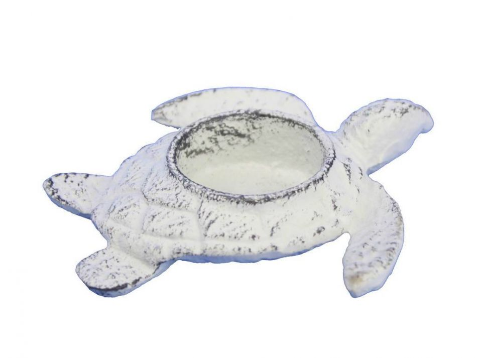 Buy whitewashed cast iron turtle decorative tealight for Turtle decorations for home