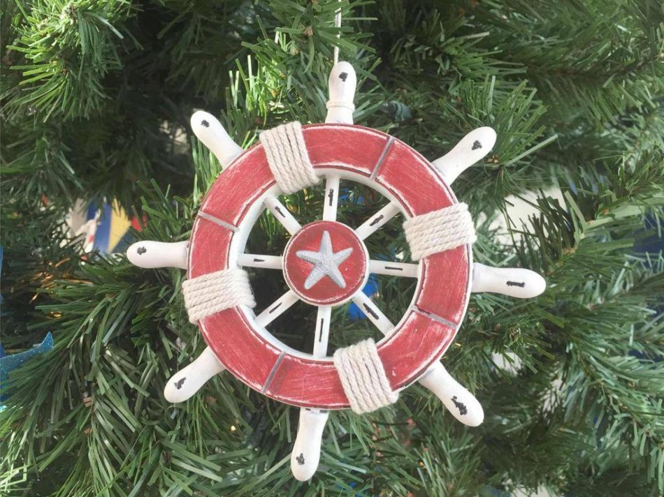 Buy rustic red and white decorative ship wheel with for Unique christmas decorations