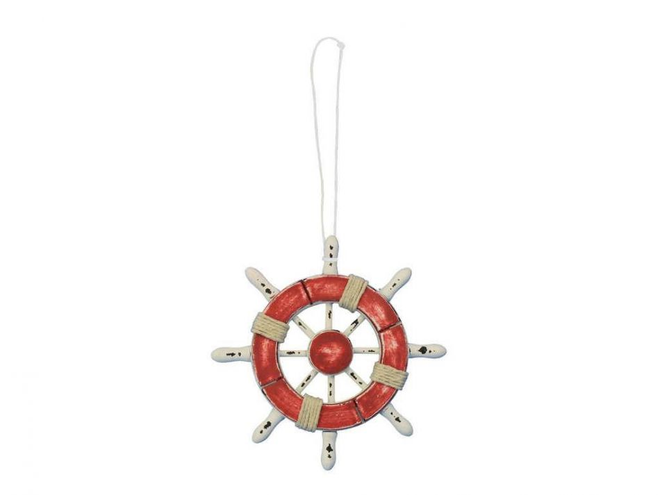 Buy rustic red and white decorative ship wheel christmas for Different christmas decorations