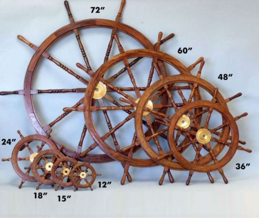 Buy Deluxe Class Wood And Brass Decorative Ship Wheel 15in