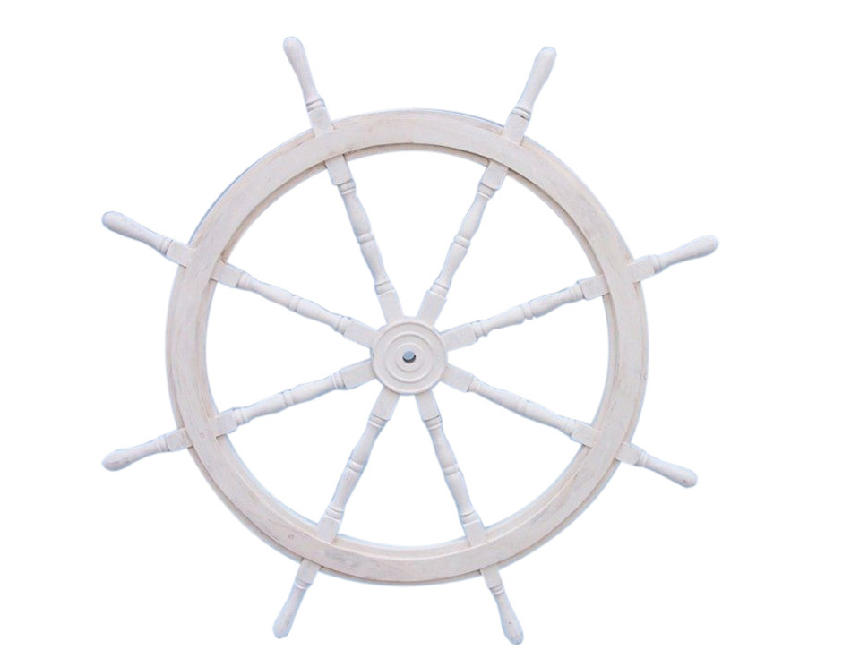 Buy Classic Wooden Whitewashed Decorative Ship Steering