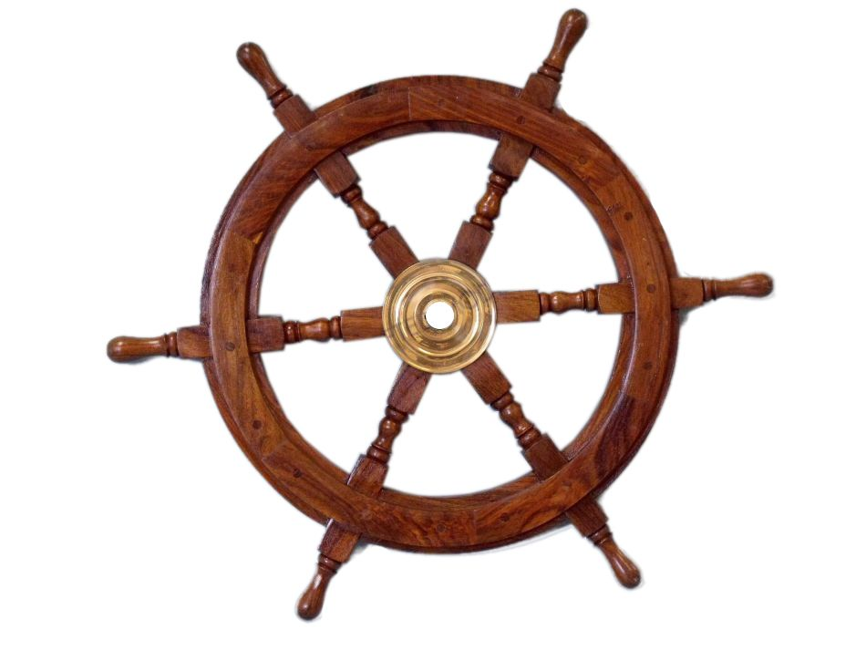 Buy Deluxe Class Wood and Brass Decorative Ship Wheel 24 Inch - Wholesal