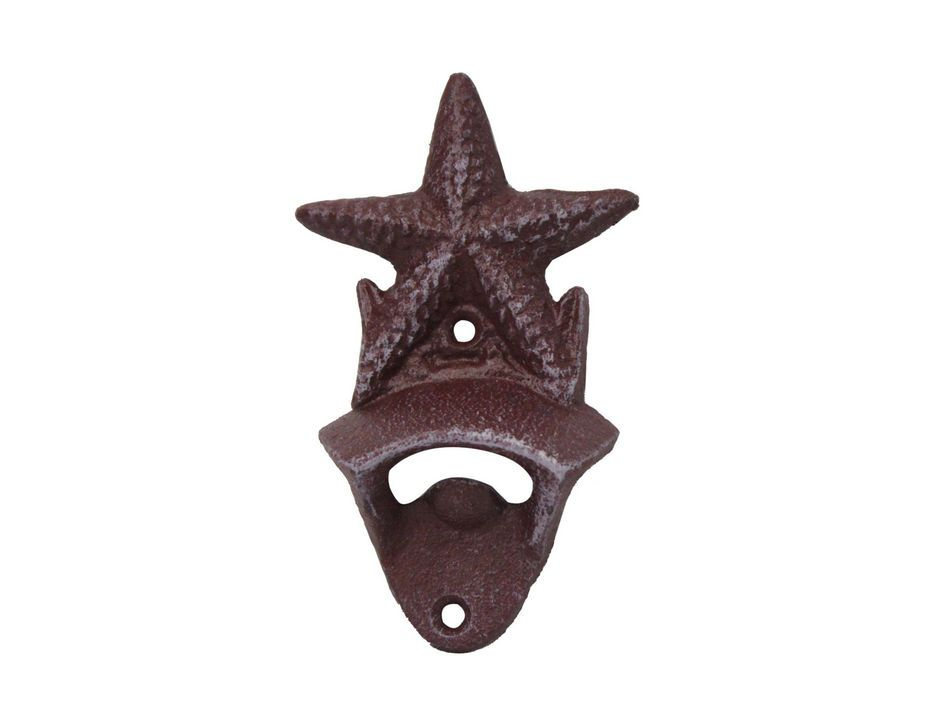 Buy Rustic Red Cast Iron Wall Mounted Starfish Bottle