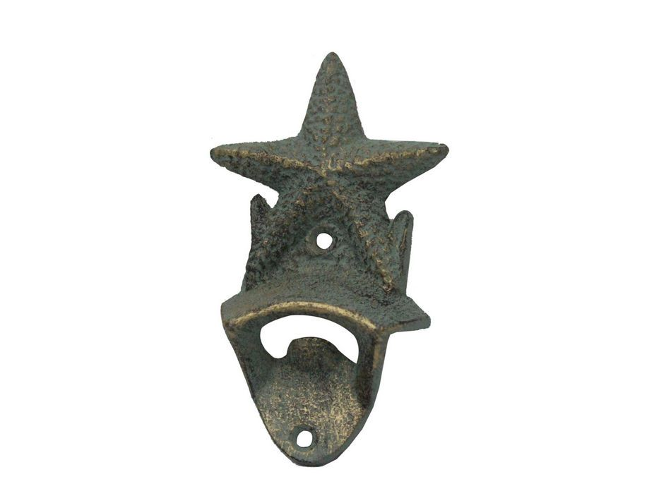 Rustic bronze cast iron wall mounted starfish bottle opener 6 nautical home d ebay - Cast iron wall mount bottle opener ...