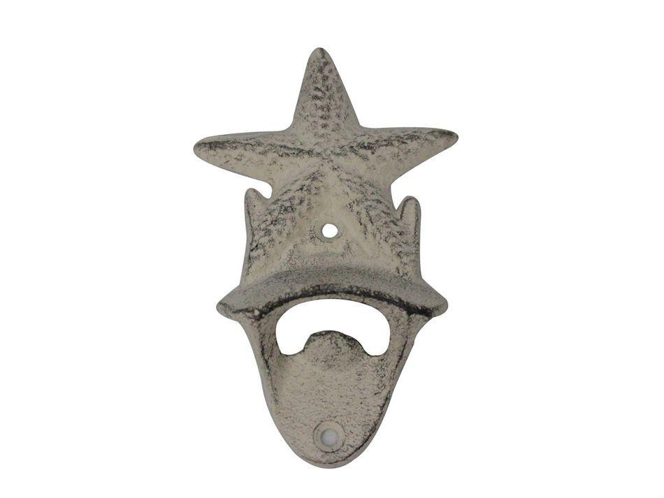 Buy Whitewashed Cast Iron Wall Mounted Starfish Bottle