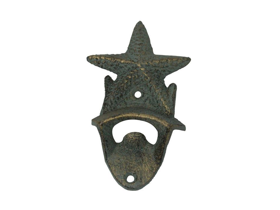 Buy antique seaworn bronze cast iron wall mounted starfish bottle opener - Cast iron wall mount bottle opener ...